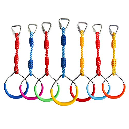 Rainbow Craft Swing Bar Rings-Colorful Outdoor Backyard Gymnastic Rings & Locking Carabiners - 7 pcs Pack by Rainbow Craft (Image #1)