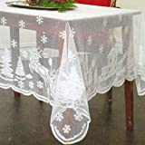 """Asunflower Holiday Tablecloths Rectangle 60"""" x 102"""" White with Snowflake Elk Modern Christmas Table Cloths Cover"""