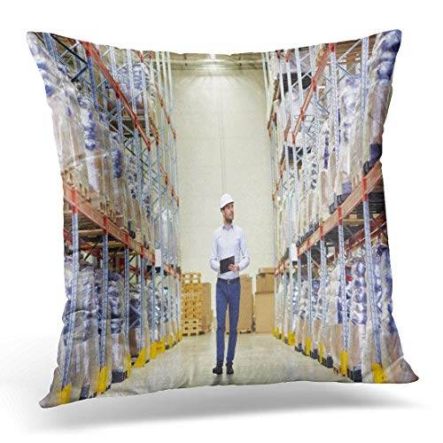 KAQIU Throw Pillow Covers Wholesale Logistic Export and People Concept Happy Man Manager with Clipboard Checking Goods at Warehouse Decorative Pillow Case Home Decor Square 18W X 18L Pillowcase (Best Clipboard Manager 2019)