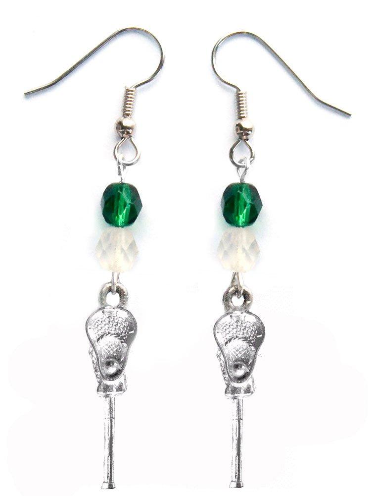 ''Lacrosse Stick & Ball'' Lacrosse Earrings (Team Colors Forest Green & White)