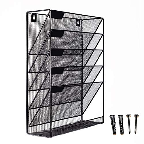 Mesh Wall Mounted Hanging Mail Document File Holder Organizer Tray - 5 Tier/Compartment Vertical Mount Letter Rack - Desk Paper Sorter (Black) for Office Kitchen Home Classroom Gym etc