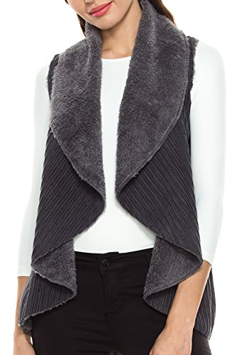 Faux Shearling Vest - KAYLYN KAYDEN KLKD B009 Women's Faux Fur Lining Open Front Corduroy Vest Charcoal Grey Medium