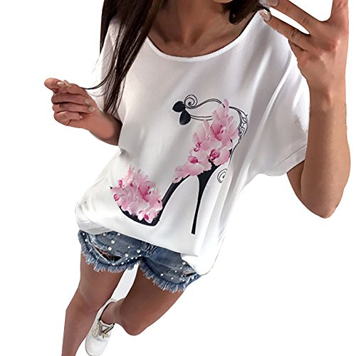 - Willow S 2019 New Creative O-Neck Short Sleeve Noble Fashion High Heels Printed Loose Plus Size T-Shirt Top Blouse White