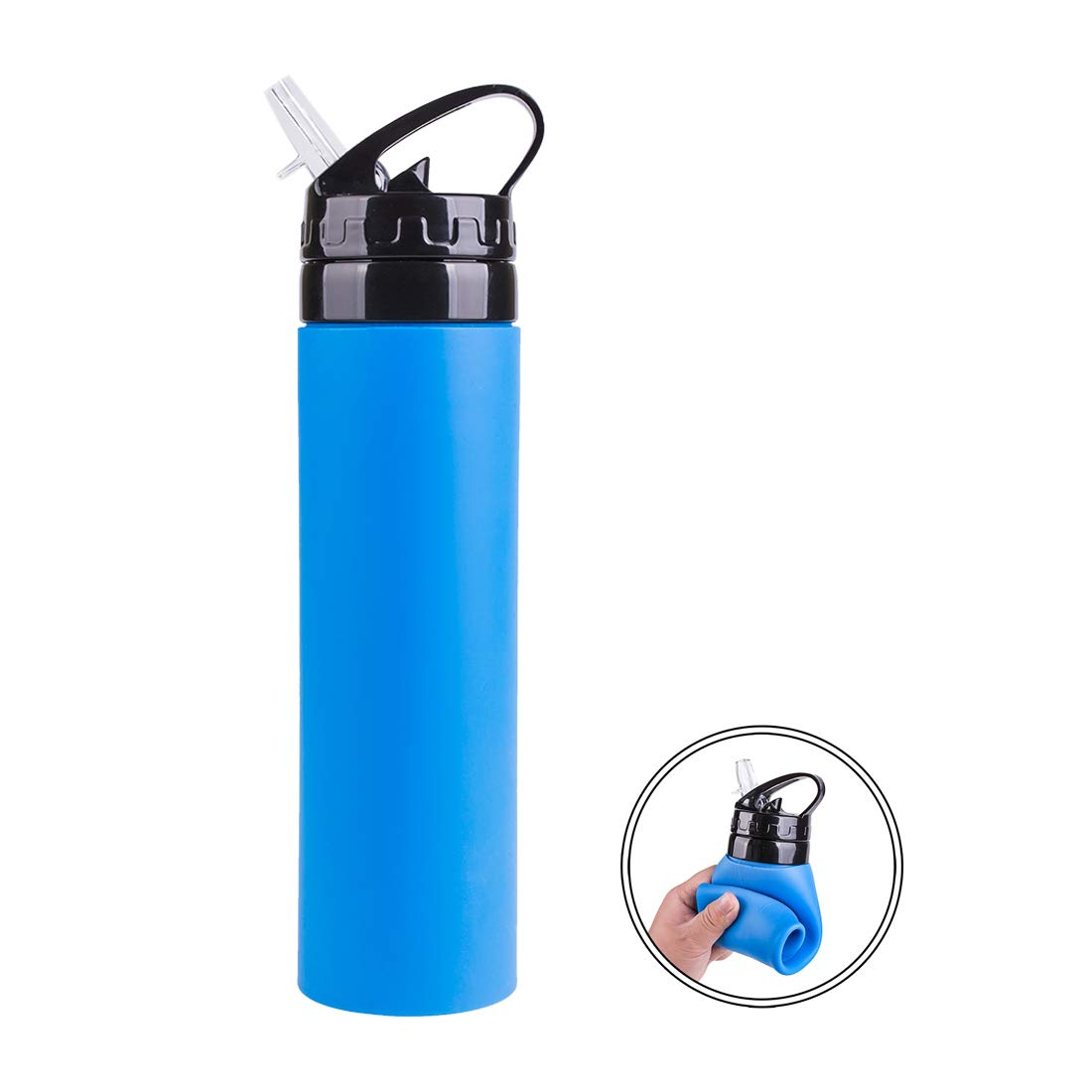 Blue Camping Traveling Leakproof /& Ultralight Annaklin Collapsible Water Bottle Silicone Foldable 20.3 oz Biking Water Bottle for Sports /& Outdoor Hiking Roll Up to Save Space