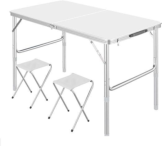 Altura ajustable de la mesa plegable, mesa de picnic portátil de aluminio con 2 taburetes de tela, mesa para acampar plegable central con asa de transporte, liviana para interiores al aire libre: