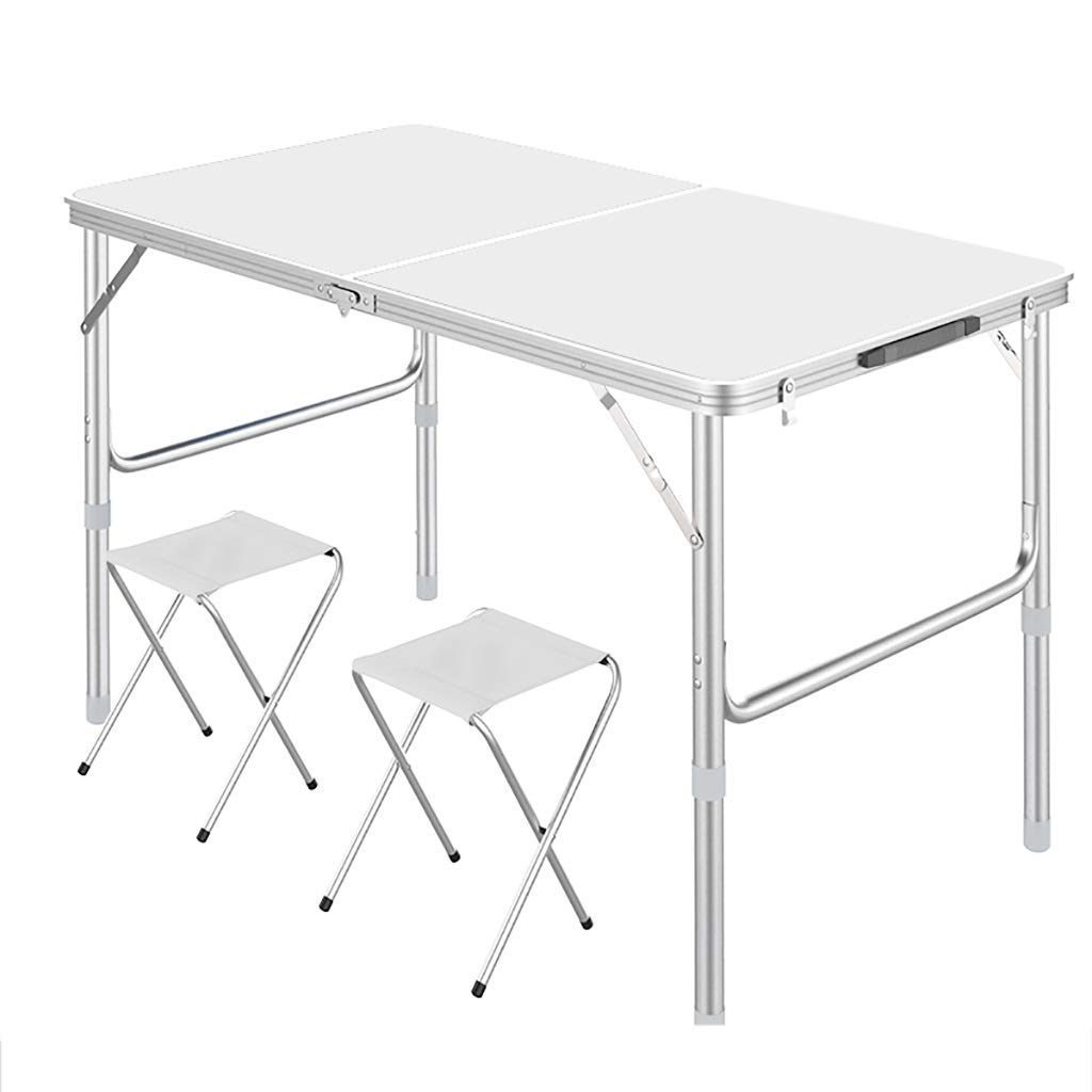 White Table+2 stool Folding Table Adjustable Height, Portable Aluminum Picnic Table with 2 Cloth Stools, Center Folding Camping Table with Carry Handle,Lightweight for Indoor Outdoor