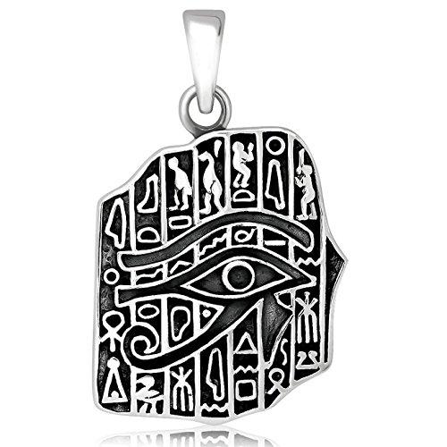 (925 Sterling Silver Egyptian Hieroglyphs Eye of Horus Cartouche Pendant)