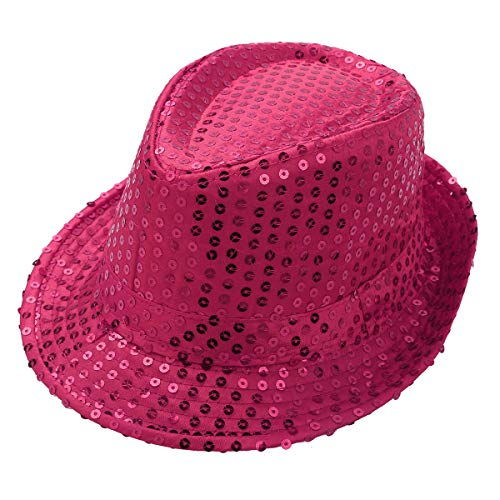 YiZYiF Kids Girls Boys Shiny Party Sequins Fedora Hat Hip Hop Jazz Dance Stage Performance Costumes Rose Red One -