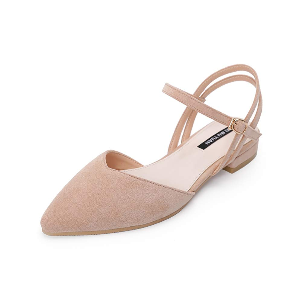 Wollanlily Women's Pointy Toe Flats D'Orsay Buckle Ankle Strap Casual Comfort Ballerina Ballet Flat Shoes Nude US 9.5