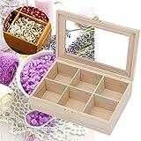 KIEJDH Natural Pine Wood Storage Box Tea Bag Storage Box Bin With Lid 6 Compartments Holder Sundries Organizer Rectangle
