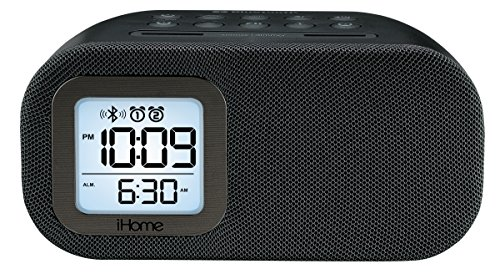 iHome iBT210B Bluetooth Dual Alarm FM Clock Radio with Speakerphone and USB Charging - Black