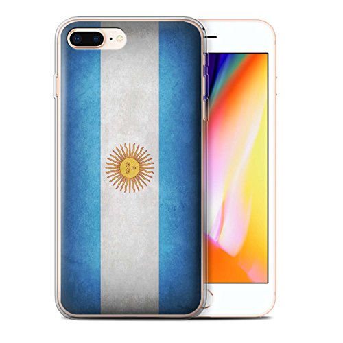 STUFF4 Gel TPU Phone Case / Cover for Apple iPhone 8 Plus / Argentina/Argentinean Design / Flags - Argentina Collection