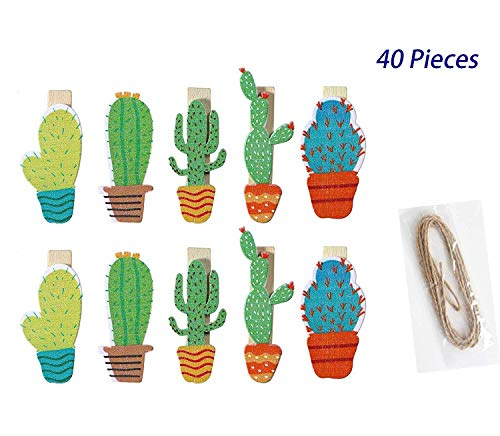 SBYURE 40 Pieces Cactus Mini Wooden Clip with Rope and 2Pcs Non-Trace Hooks for Photo Album Postcard Note Paper Decor Clamp and Wedding Party Decor