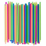 Crystalware, Neon Plastic Straws, Food-Safe BPA-Free Plastic, Jumbo Pack 400 Straws, 7 3/4 Inches,