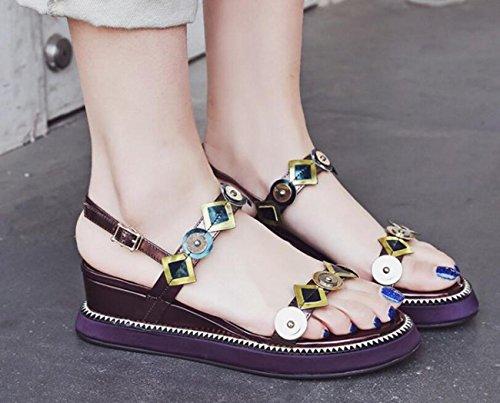 PBXP OL sandali colore incantesimo Peep Toe cinghie cinghie fibbia metallo decorazione metallo outson antiscivolo Edizione limitata scarpe casuali dimensioni UE 33-41 , wine red , 35
