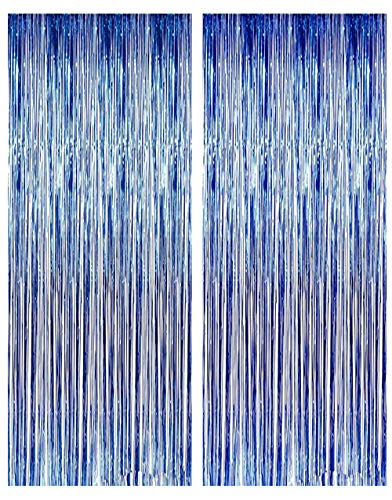 Lansian 2 Pack Metallic Tinsel Blue Foil Fringe Door Wall Curtain Party Decorations for Party Photo Backdrop Wedding Decorations Royal Blue 3ft x 9ft