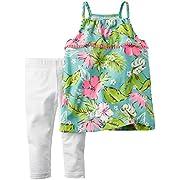 Carter's Baby Girls' 2 Piece Playwear Sets, Floral, 9 Months
