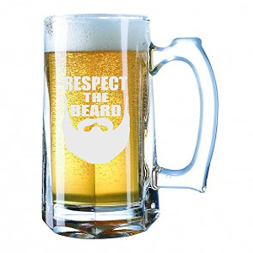 Glass Tall Hat (Giant Beer Mug 28 Ounces Beer Stein - Respect The Beard Funny - Laser Engraved)