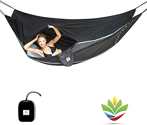 Hammock Bliss Sky Bed Bug Free – Insect Free Hanging Tent That Hangs Like A Hammock But Sleeps Like A Bed – Unique Asymmetrical Design Creates An Amazing Lay Flat Camping Hammock Sleeping Experience