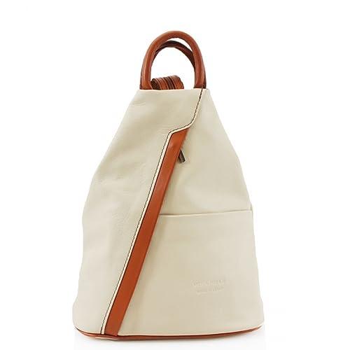 44f192afb3719 Ladies Girls Soft Vera Pele Italian Leather Rucksacks Women Backpacks Gym  School Bags (Beige/