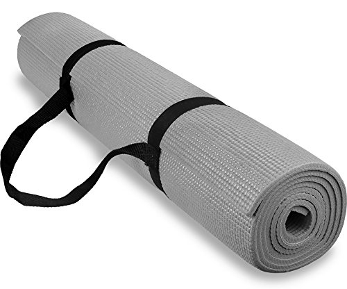 Spoga 1/4-Inch Anti-Slip Exercise Yoga Mat with Carrying Strap, Gray