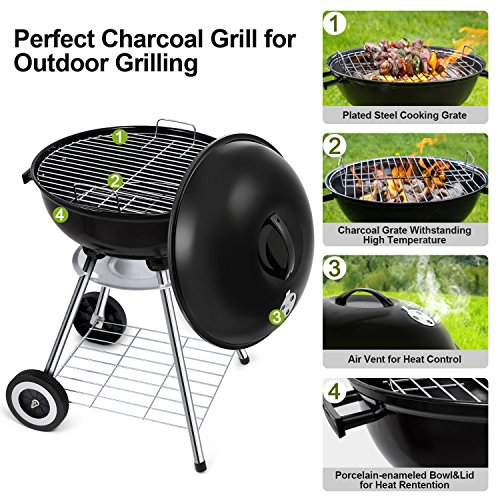 18-Inch Charcoal Grill Portable Charcoal Grilling Barbecue Grills and Smoker Tailgating Round Standing Camping BBQ Kettle Grills Outdoor Cooking Heat Control Steel Cooking Grate for Steak Chicken by BEAU JARDIN (Image #2)