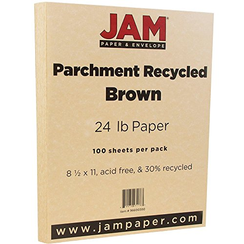 """JAM Paper Parchment Paper - 8.5"""" x 11"""" - 24 lb Brown Recycled- 100/pack"""