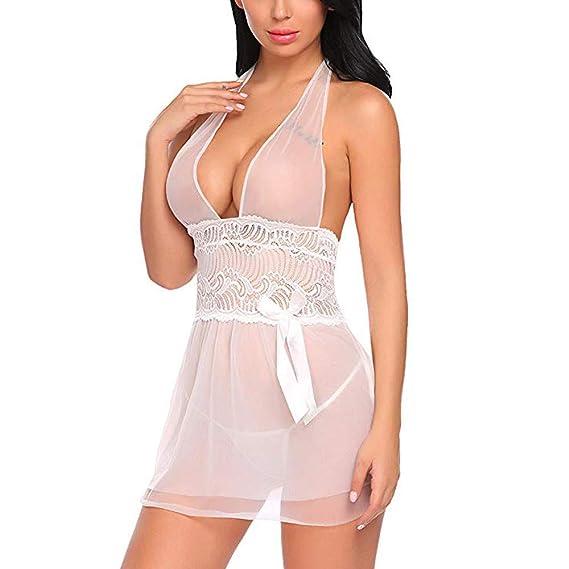 Conjuntos de lencería Mujer erótico Vestido de Noche Ropa Interior de Dormir Camisón Vestir Pijamas de tentación Vestir y Braguitas Culottes Amlaiworld: ...