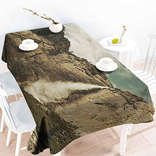 Willsd Elastic Tablecloth Rectangular,Yosemite Waterfalls in Yosemite National Park California Famous Travel Destination,Resistant/Spill-Proof/Waterproof Table Cover,W60x84L Brown Reseda Green]()