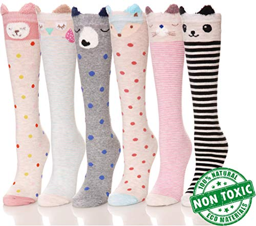 Girls Knee High Socks Animal Novelty Cute Fun Tight High Baby Toddler Children Dress Cotton 6 Pairs (Animal1)