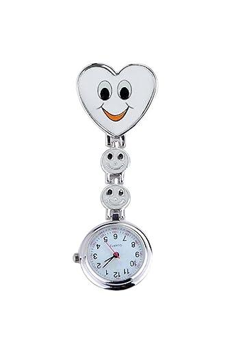 Reloj - SODIAL(R)reloj de bolsillo de enfermera de patron de corazon y cara con sonrisa un buen regalo para muchacha blanco: Amazon.es: Relojes