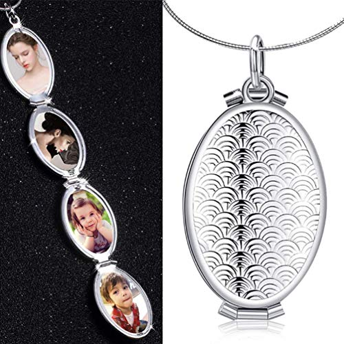 TureLaugh Fish Scale Oval Locket 4 Slot Photo Frame Pendant Necklace That Holds Pictures Locket Jewelry Gift Solid for Kids,Women,Boys -