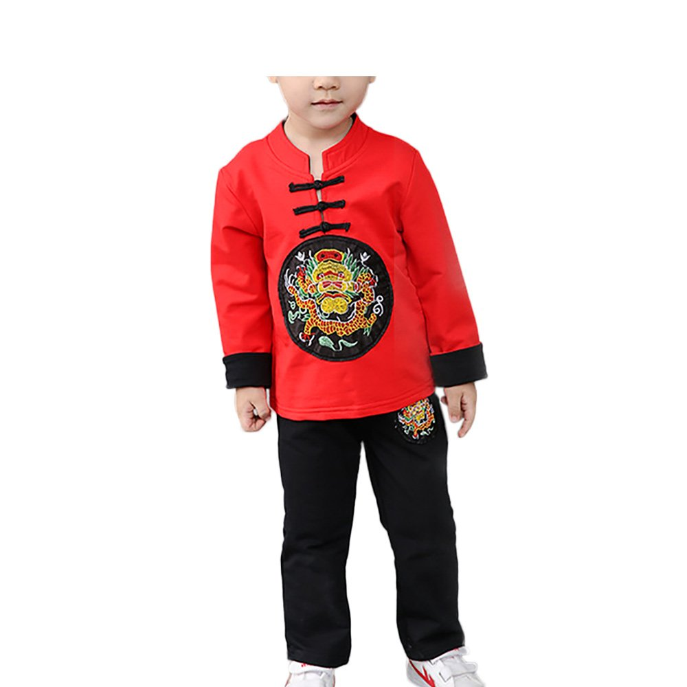 KIKIGOAL Spring Autumn Chinese Traditional Kung Fu Outfit Tang Suit for Girls and Boys (100, red)
