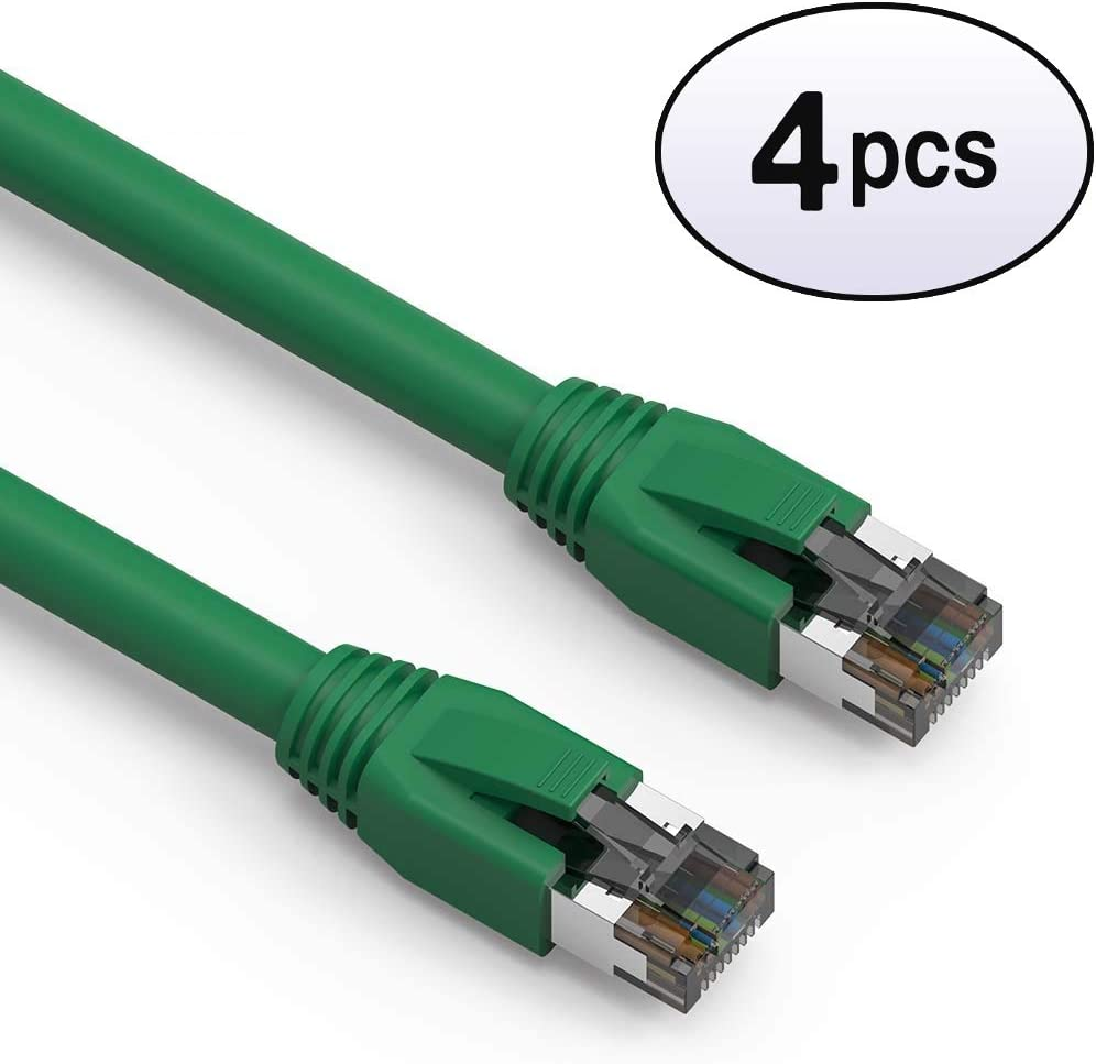 3-Pack - 2 Feet White 2000MHz 40 Gigabit//Sec High Speed LAN Internet//Patch Cable 24AWG Network Cable with Gold Plated RJ45 Snagless//Molded//Booted Connector GOWOS Cat8 SFTP Ethernet Cable