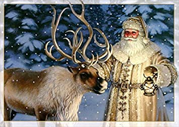 old fashioned santa with reindeer box of 16 christmas cards - Santa With Reindeer