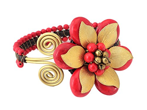 Flower Jewelry Red Coral Stone Bracelet Brass Leaf - Bracelet Set Coral Cuff