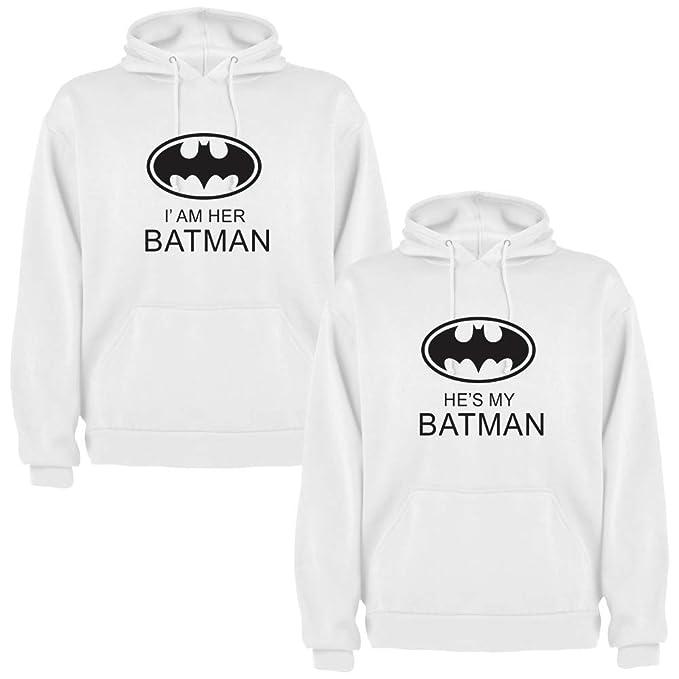 DALIM ACK de 2 Sudaderas Blancas para Parejas, Iam Her Batman y Hes