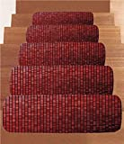 iPrint Non-Slip Carpets Stair Treads,Maroon,Abstract Mosaic Grid Ombre Pattern Pixels Digital Technology Themed Tile Decorative,Maroon Scarlet Black,(Set of 5) 8.6''x27.5''