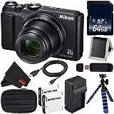 Nikon COOLPIX A900 Digital Camera (Black) 26501 International Model + EN-EL12 Replacement Lithium Ion Battery + External Rapid Charger + 64GB SDXC Class 10 Memory Card Bundle