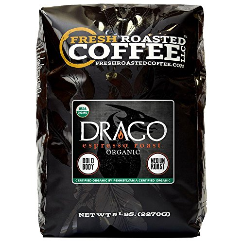 Drago Organic Espresso Artisan Blend Coffee, Whole Bean Bag, Fresh Roasted Coffee LLC. (5 LB.) (Coffee Lemon Organic)