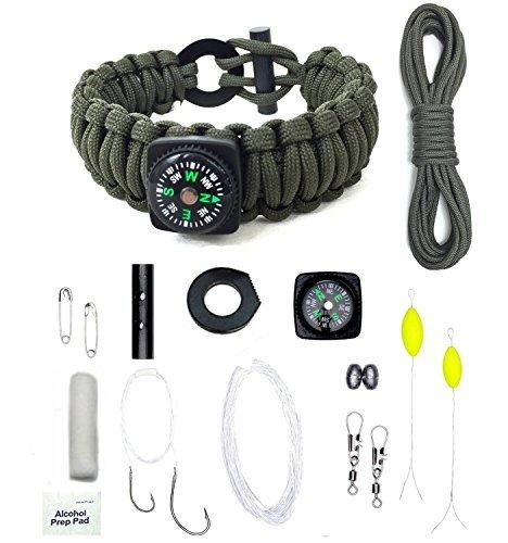 MSsmart(TM )Wilderness Outdoor Hiking Survival Paracord Bracelets Whistle Kit With Flint Fire Gear Starter 17 Pc Bracelet Kits (Army green)