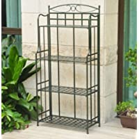 K&A Company Dark Green Iron Folding Rack Bakers Powdercoated Matte Brown Wrought Baker for Outdoor or Indoor Use 59 x 29 x 3 inches.