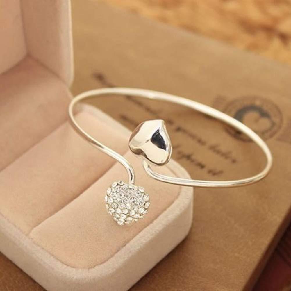 Pinksee Double Love Heart Open Cuff Bracelet Bangle For Women Girls