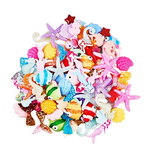 - PH PandaHall About 100pcs 10 Styles Sea Theme Resin Flatback Cabochons for DIY Phone Case Decoration Ornament Scrapbooking DIY Crafts(Mermaid Tail, Sea Horse, Starfish, Dolphin, Shell)