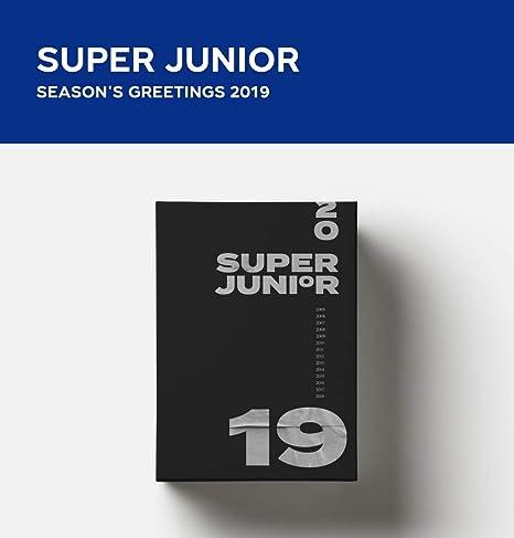 SM Entertainment 2019 Super Junior Season - Juego de 2 calendarios + Agenda + 12 pósteres + Pegatina + Juego de Tarjetas fotográficas