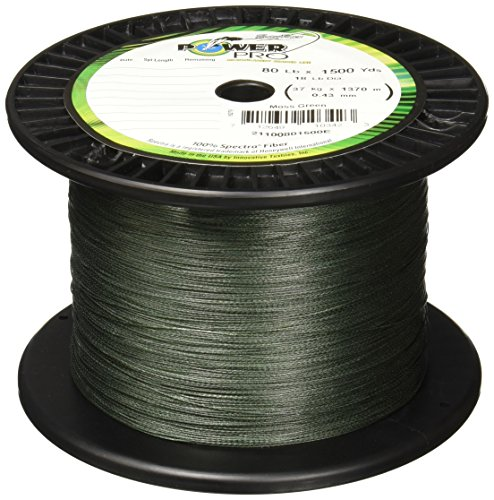 Power Pro Spectra Fiber Braided Fishing Line, Moss Green, 1500YD/80LB