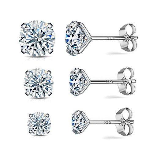 Sterling silver stud earrings set 3 pairs 18K gold plated silver simulated diamond CZ stud earrings for women hypoallergenic