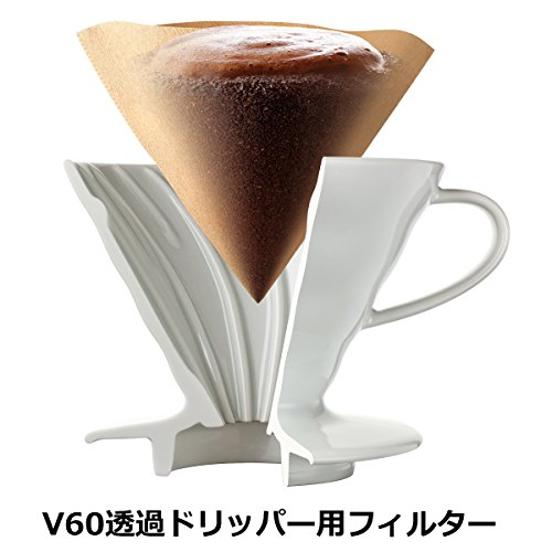 Hario V60 Paper Coffee Filters, Size 02, Natural, Tabbed