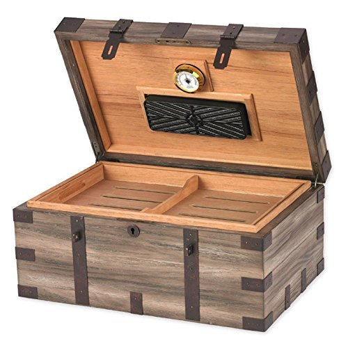 $155.00 antique humidor Solid Reclaimed Wood Construction and Rustic Tarnished Metal Details Cigar Humidor – 120 Cigars – 15.75'W x 10.62'D x 7'H 2019