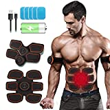 Intee Muscle Massager Abdominal Toning Belt Home Workout Portable AB Machine EMS Training Home Office Fitness Equipment for Abdomen/Arm/Leg Training, Free 10pcs Gel Pads